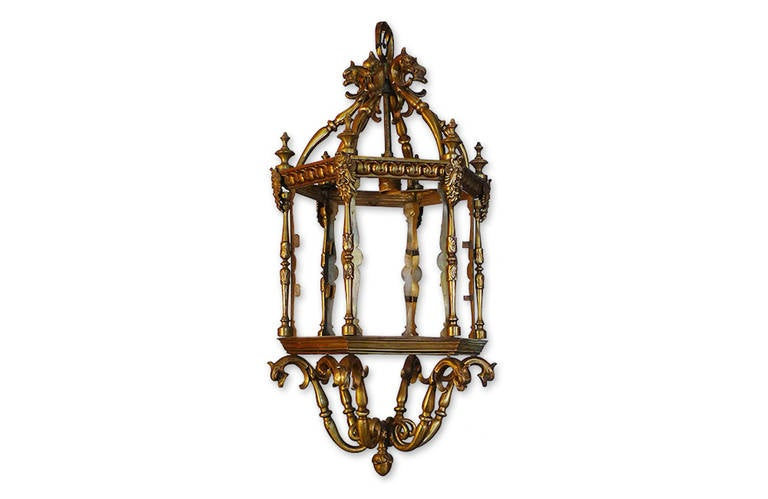 French 1940s bronze ceiling lantern with six glass sides and one centre light.