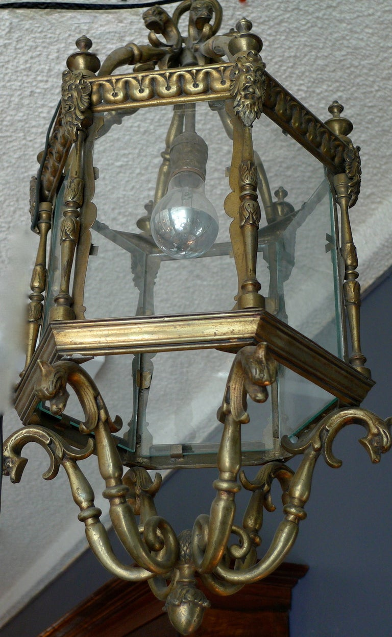 French 1940s Bronze Ceiling Lantern with Six Glass Sides and One Centre Light In Good Condition For Sale In Santa Monica, CA