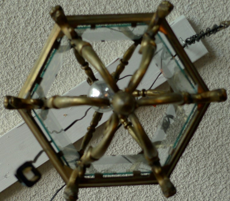 French 1940s Bronze Ceiling Lantern with Six Glass Sides and One Centre Light For Sale 2