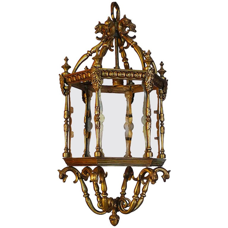 French 1940s Bronze Ceiling Lantern with Six Glass Sides and One Centre Light For Sale
