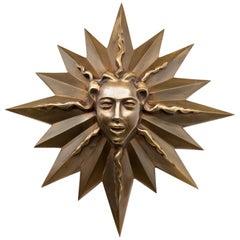 French 1940s Bronze Sun Plaque