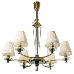 French 1940s Chandelier, Brass and Glass
