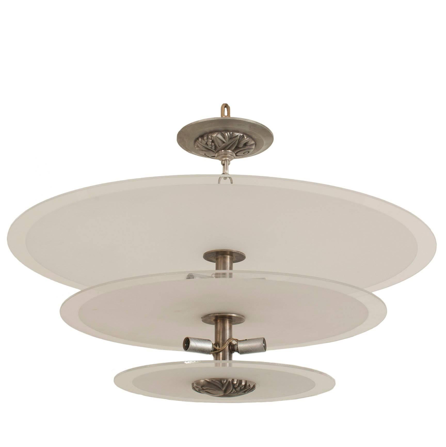 French 1940s Chandelier with Three Graduated Round Tiered Shades