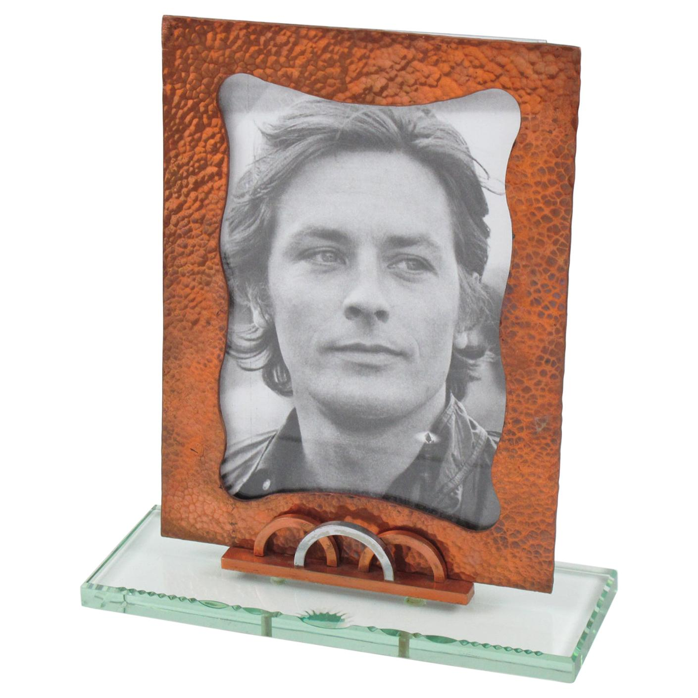 French 1940s Copper and Glass Picture Frame