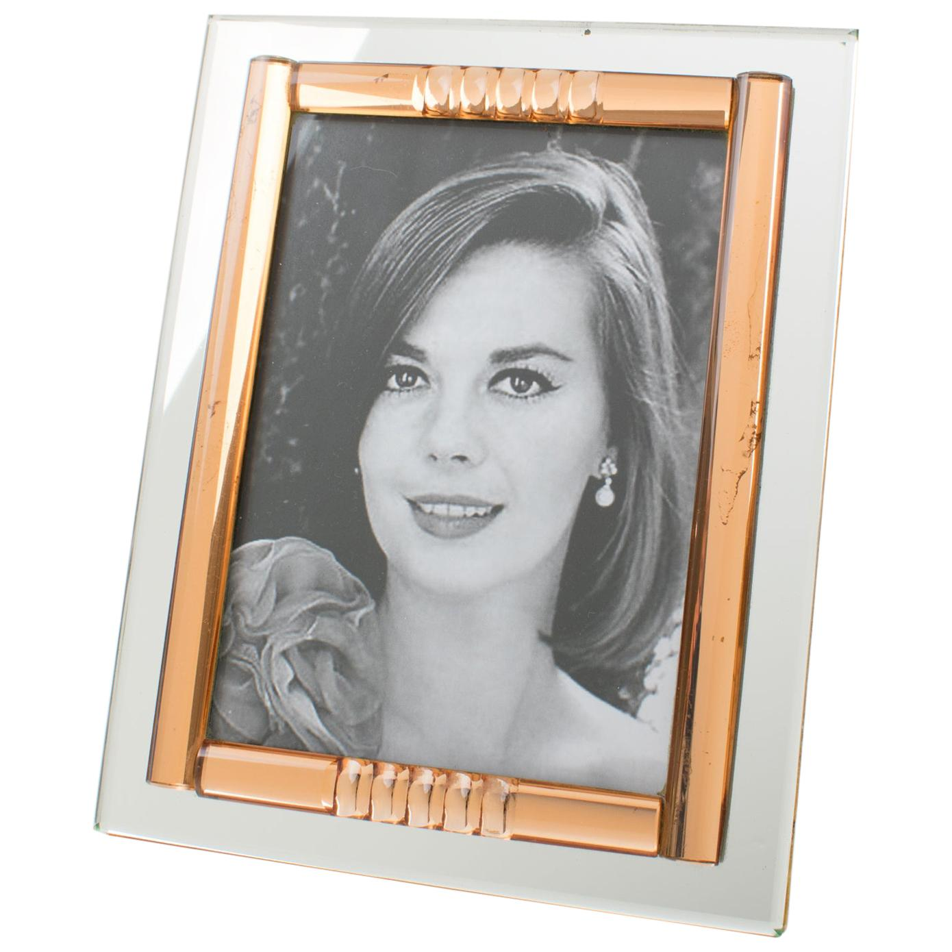 French 1940s Copper Pink and Silver Mirror Picture Frame