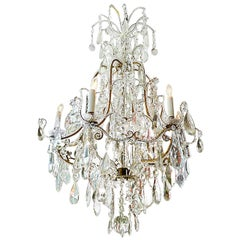 French 1940s Crystal and Glass Chandelier on Iron Frame with Six Outer Lights