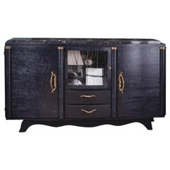 French 1940s Design Wooden Glass and Brass Sideboard with Black Marble Tray
