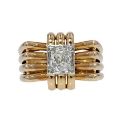 French 1940s Diamond 18 Karat Yellow Gold Platinum Knot Tank Ring
