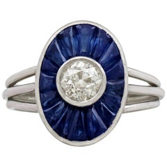 French 1940s Diamond and 1.46 Carat Sapphire Platinum Cocktail Ring