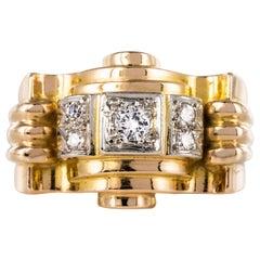 French 1940s Diamonds 18 Karat Yellow Gold Platinum Tank Ring