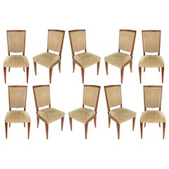 French 1940s Dining Chairs Manner of Leleu, Set of 10