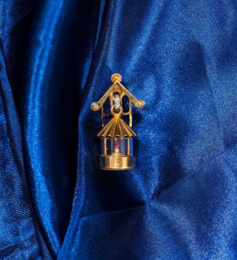 French 1940s Eliakim Cairos 18 Karat Ruby Diamond Lantern Form Pendant Watch For Sale 4
