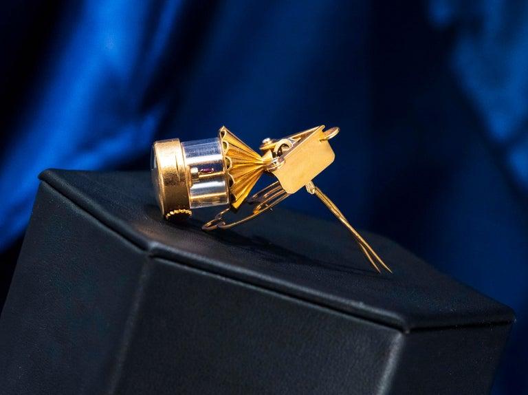 French 1940s Eliakim Cairos 18 Karat Ruby Diamond Lantern Form Pendant Watch For Sale 5