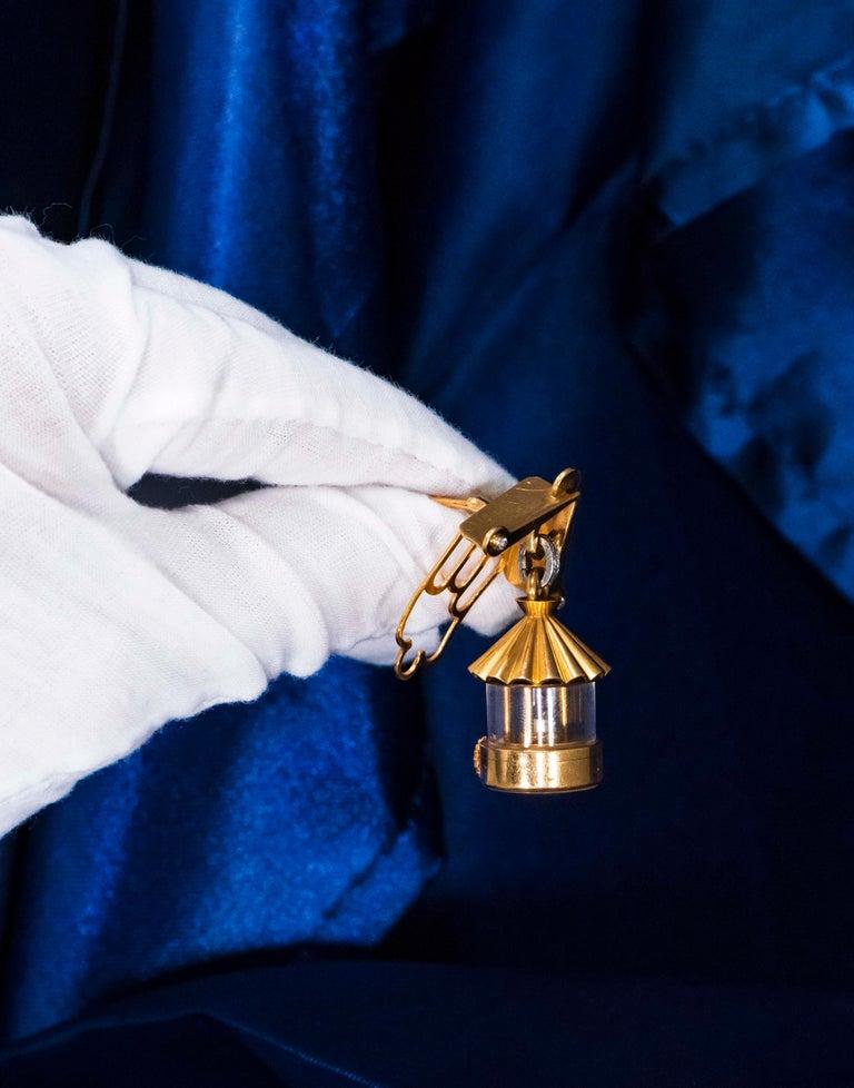 French 1940s Eliakim Cairos 18 Karat Ruby Diamond Lantern Form Pendant Watch For Sale 6