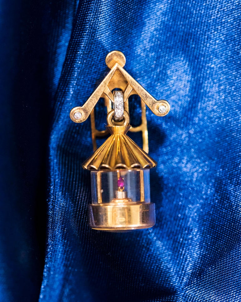 French 1940s Eliakim Cairos 18 Karat Ruby Diamond Lantern Form Pendant Watch For Sale 1