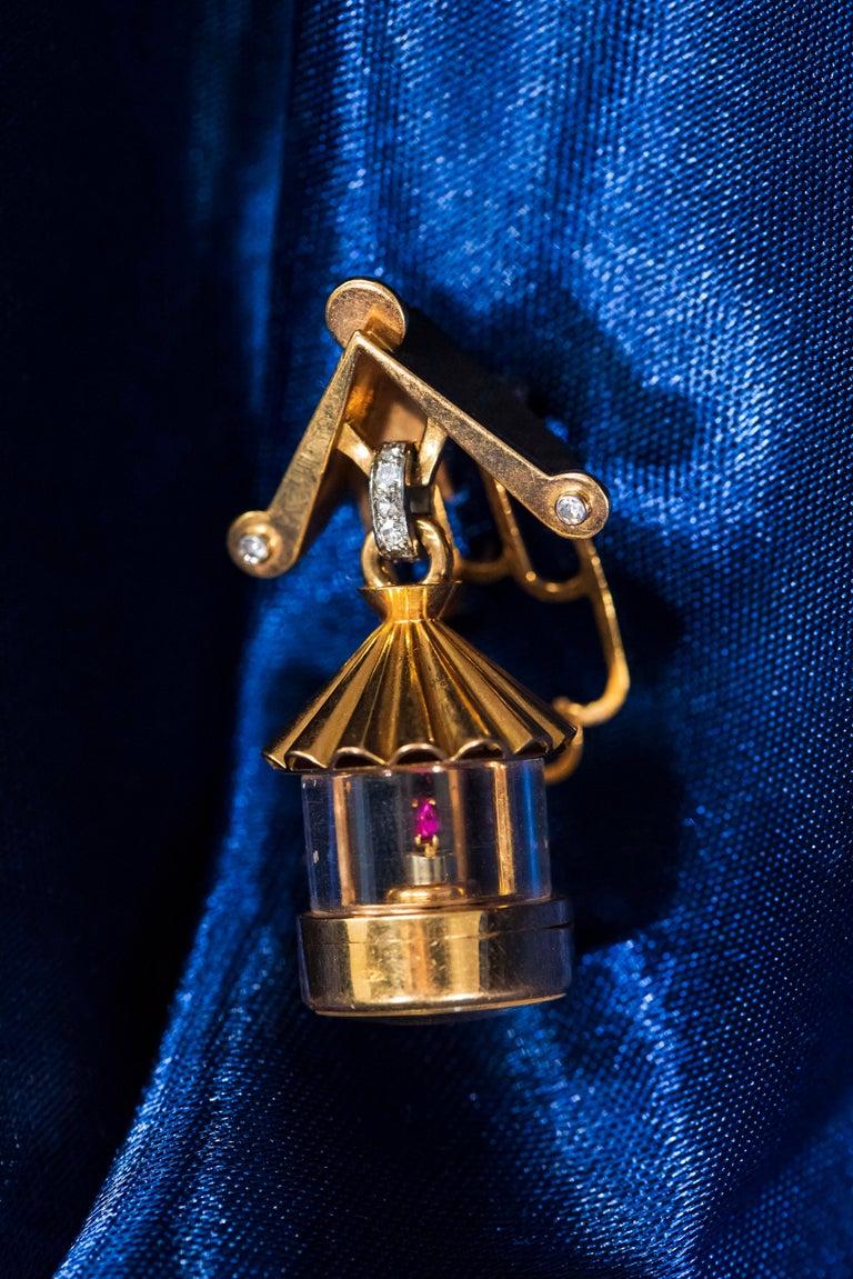 French 1940s Eliakim Cairos 18 Karat Ruby Diamond Lantern Form Pendant Watch For Sale 2