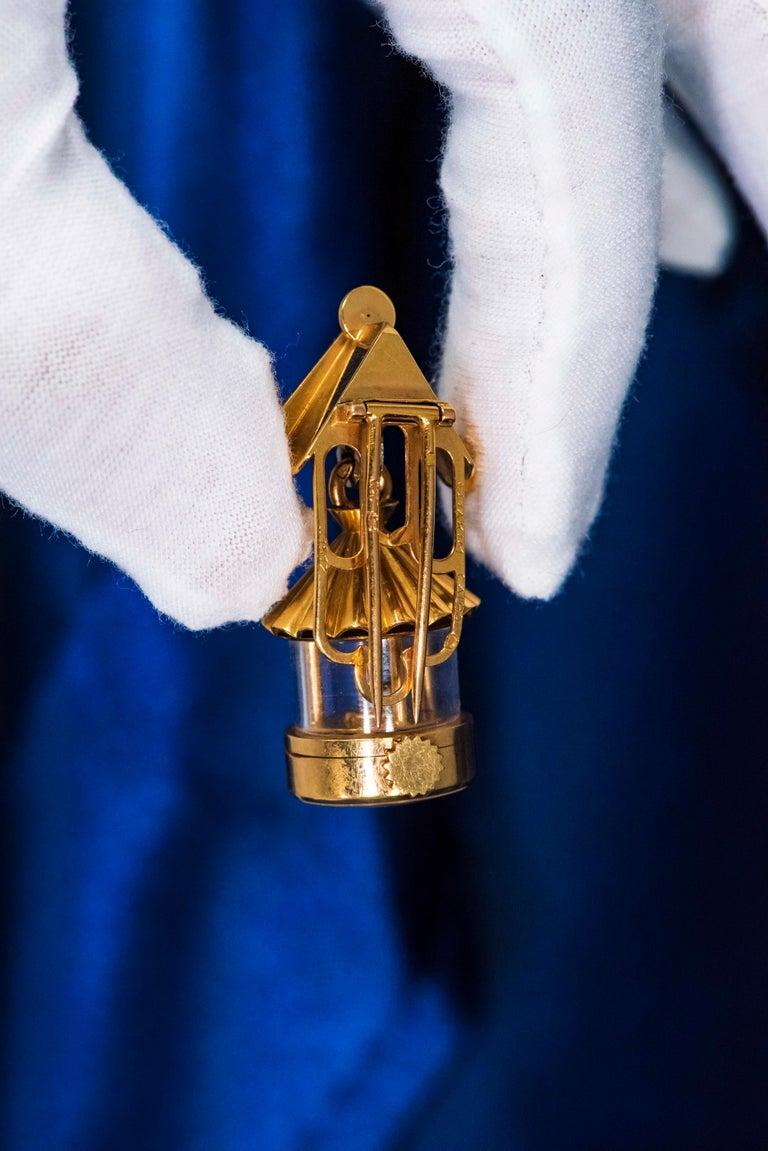 French 1940s Eliakim Cairos 18 Karat Ruby Diamond Lantern Form Pendant Watch For Sale 3