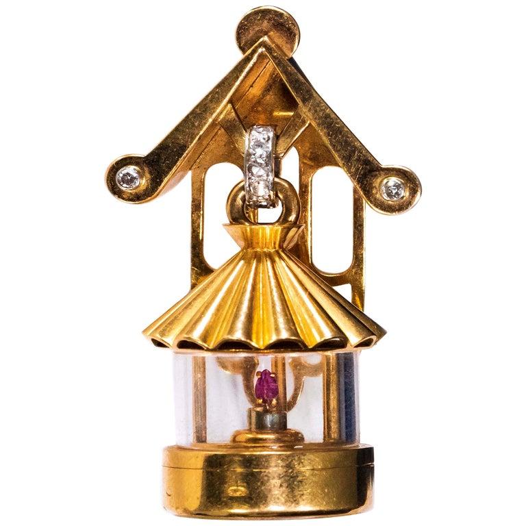 French 1940s Eliakim Cairos 18 Karat Ruby Diamond Lantern Form Pendant Watch For Sale