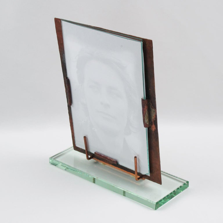 Mid-Century Modern French 1940s Copper Picture Frame Copper For Sale