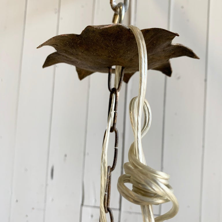 French 1940's Gilt Iron Chandelier For Sale 3