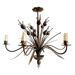 French 1940's Gilt Iron Chandelier