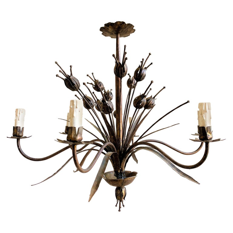 French 1940's Gilt Iron Chandelier For Sale