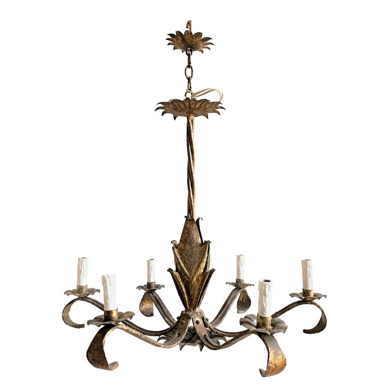 French 1940s Gilt Iron Chandelier For Sale