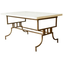French 1940s Gilt Iron Coffee Table with Marble Top