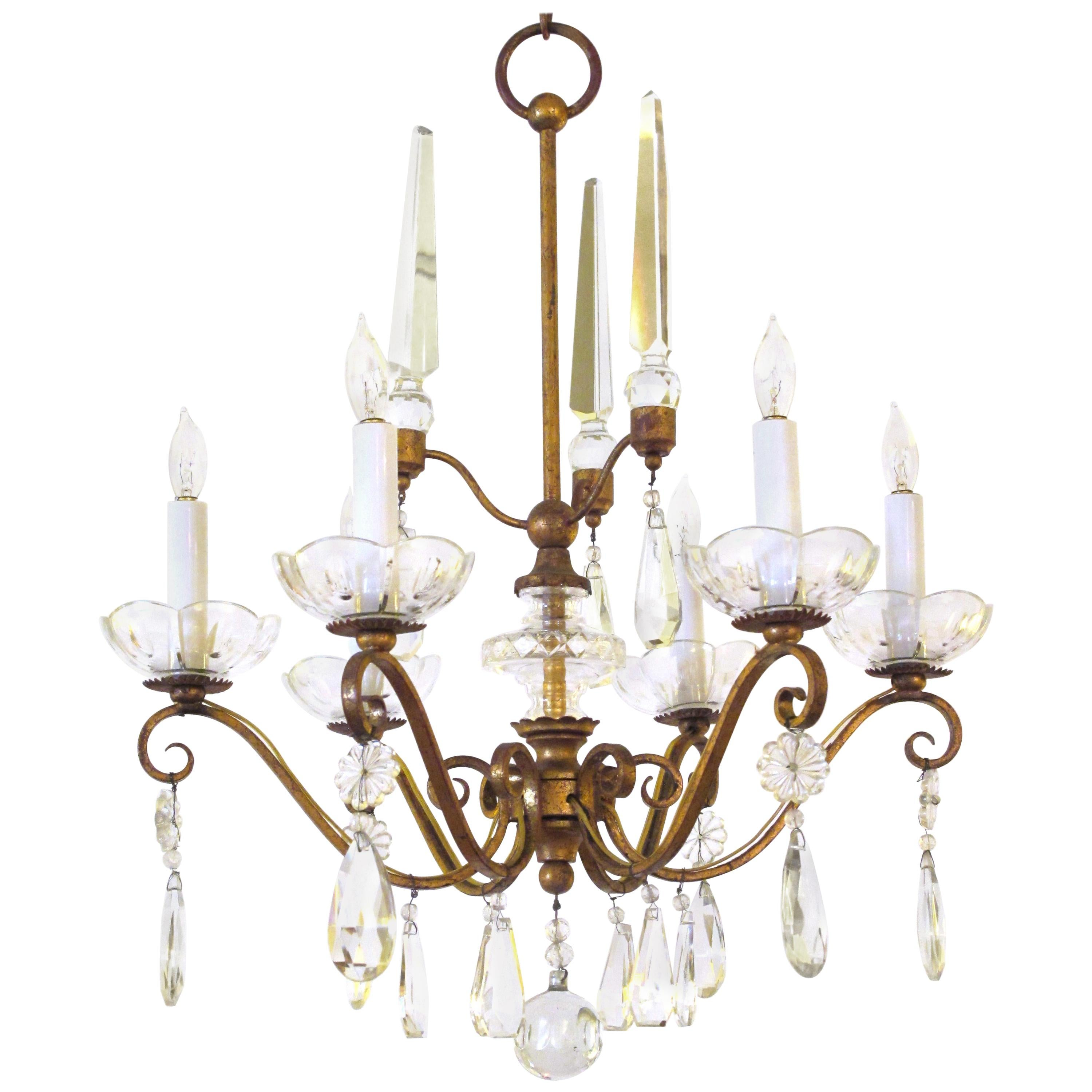 French 1940s Gilt-Metal 6-Light Chandelier with Crystal Pendants