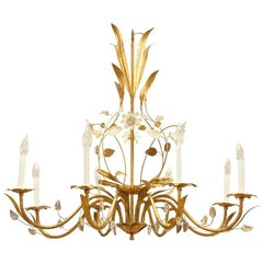French 1940s Gilt Metal Chandelier, Attrib. to Baguès