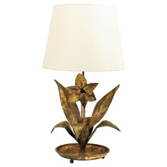 French 1940s Gilt Metal Floral Table Lamp