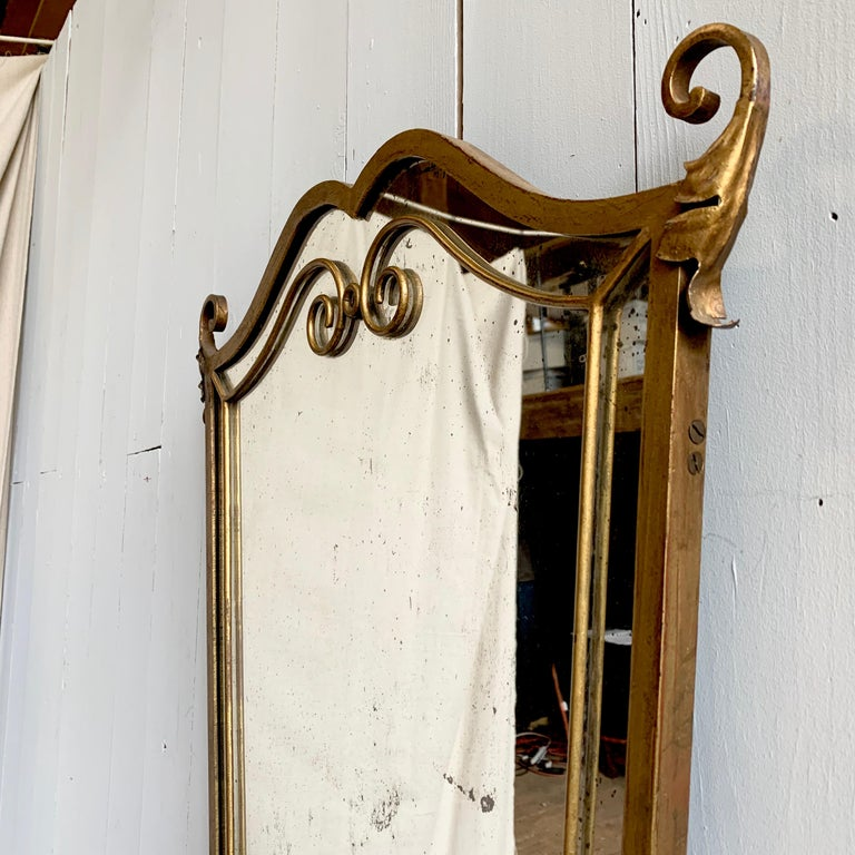 French 1940s Gilt Metal Mirror For Sale 1