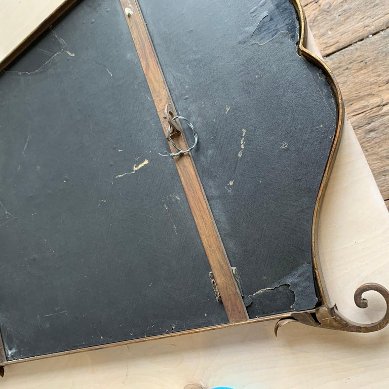 French 1940s Gilt Metal Mirror For Sale 4
