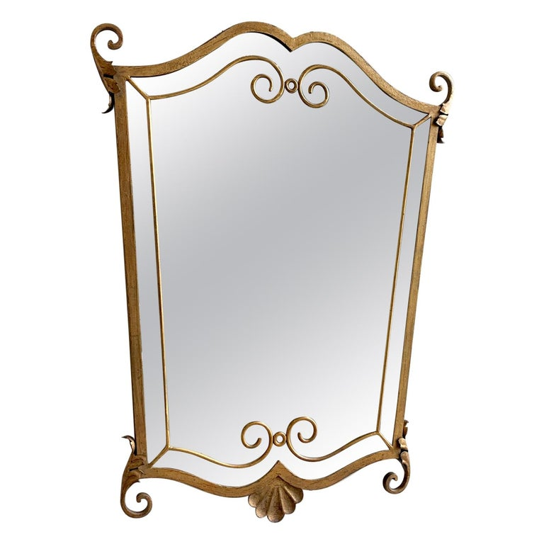 French 1940s Gilt Metal Mirror For Sale