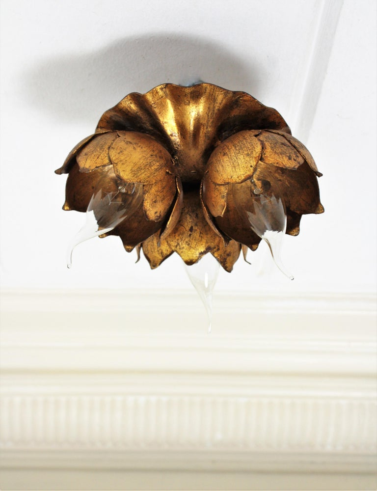French 1940s Gilt Metal Three Light Floral Bouquet Wall / Ceiling Light Fixture For Sale 7