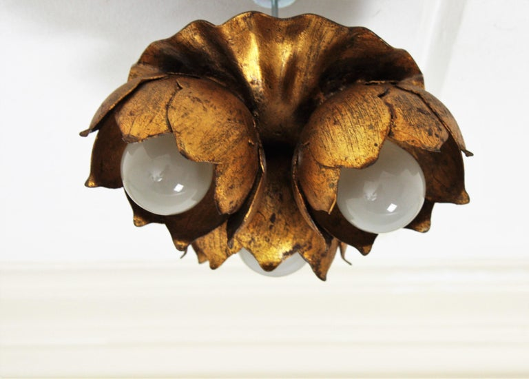 French 1940s Gilt Metal Three Light Floral Bouquet Wall / Ceiling Light Fixture For Sale 8