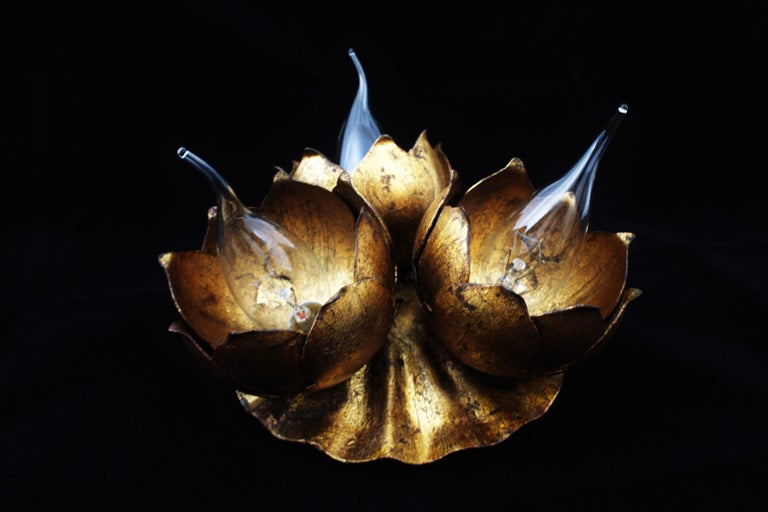 20th Century French 1940s Gilt Metal Three Light Floral Bouquet Wall / Ceiling Light Fixture For Sale