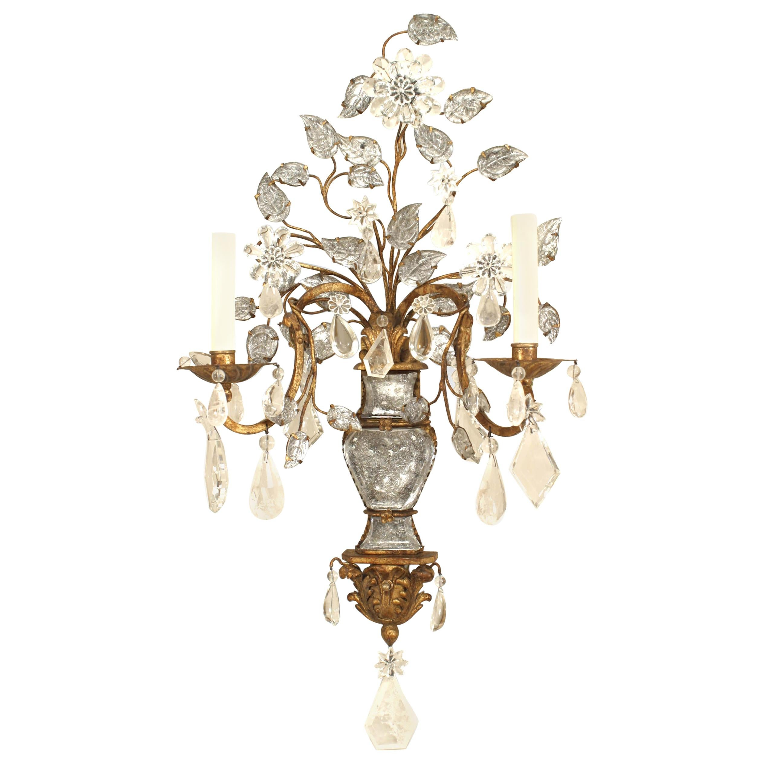 Maison Bagues French Art Deco Gilt Metal and Crystal Wall Sconces