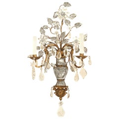 French 1940s Gilt Two-Arm Wall Sconce, Attributed to Baguès