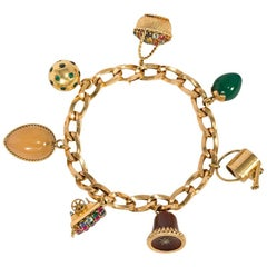 French 1940s Gold and Multi-Stone Charm Bracelet