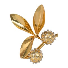 French 1940s Gold Chestnut Sprig Brooch with Diamond Accents
