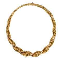 French 1940s Gold Twisted Gas Pipe Necklace