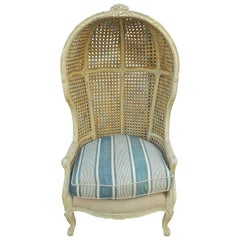 French 1940s Hand Carved, Hand Painted Cane Canopy Armchair