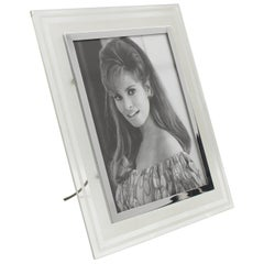 French 1940s Hollywood Regency Frosted Glass Picture Photo Frame