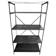 French 1940s Iron Display Unit with Four Painted Wood Shelves