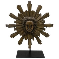 French 1940s Large Mounted Bronze Roi Soleil or Sun King Medallion