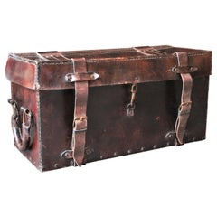 Trunk in Brown Leather with Handles at Both Sides, France, 1940s
