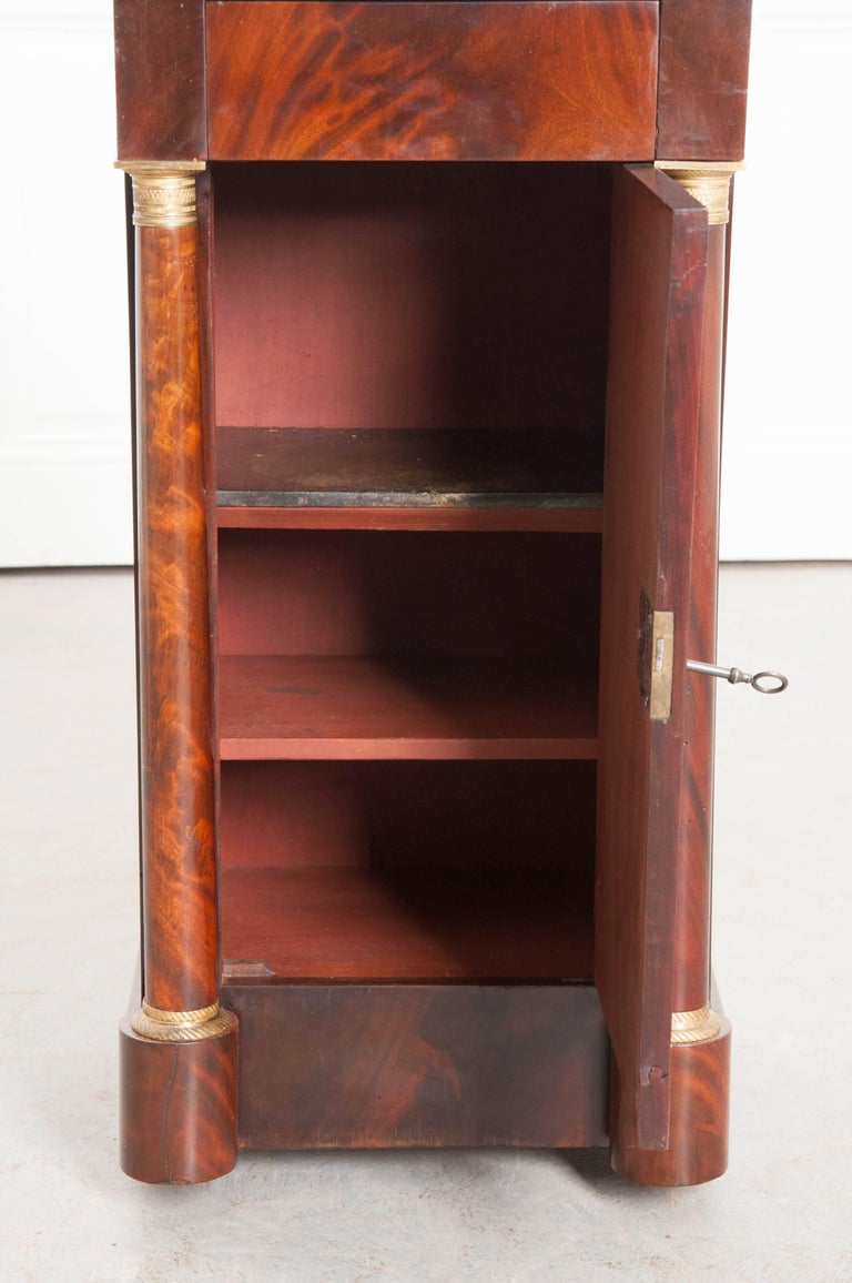 Cast French, 1940s Mahogany Empire Bedside Table For Sale