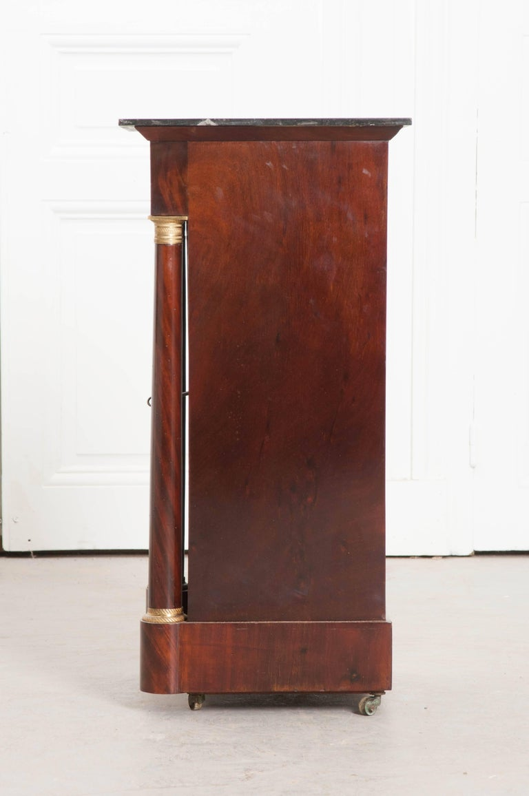 Marble French, 1940s Mahogany Empire Bedside Table For Sale