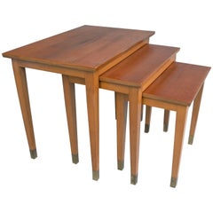 French 1940s Mahogany Wooden Nesting Tables with Brass Ends
